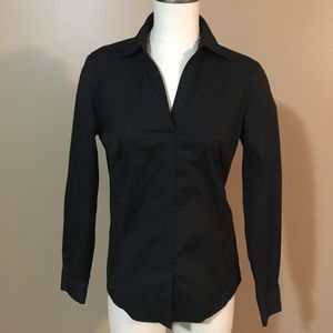 Lafayette 148 NY Black Pull over Shirt side zip 4